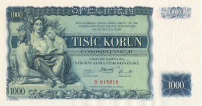 Česká bankovka s hodnotou 1000 Kč z roku 1934