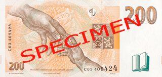 České bankovky – 200 Kč (dvě stě korun, dvoustovka) : rubová strana