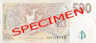 České bankovky – 500 Kč (pět set korun, pětistovka) : rubová strana
