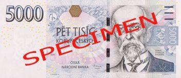 """České bankovky – 5000 Kč (pět tisíc korun, pětitisícovka nebo také lidově i """"pětilitr či masaryk"""") : lícová strana"""
