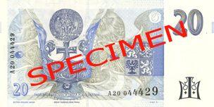 Neplatné bankovky - 20 Kč rubová strana