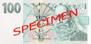 České bankovky – 100 Kč (stokoruna, stovka): lícová strana