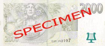 """České bankovky – 2000 Kč (dva tisíce korun, dvoutisícovka nebo také lidově i """"dvoulitr"""") : rubová strana"""