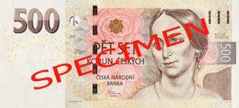 České bankovky – 500 Kč (pět set korun, pětistovka) : lícová strana