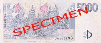"""České bankovky – 5000 Kč (pět tisíc korun, pětitisícovka nebo také lidově i """"pětilitr či masaryk"""") : rubová strana"""