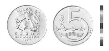 Česká mince 5 Kč – ročník ražby 1997