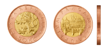 Česká mince 50 Kč – ročník ražby 1997